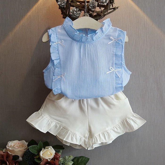 【溜。溜。選物】春夏新款*1+1兒童荷葉邊蝴蝶結背心+百搭短褲套裝兩件組