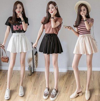 夏季韓版 寬鬆 學生百搭時尚 休閒褲 松緊腰短褲女裝 闊腿 裙褲 寬褲