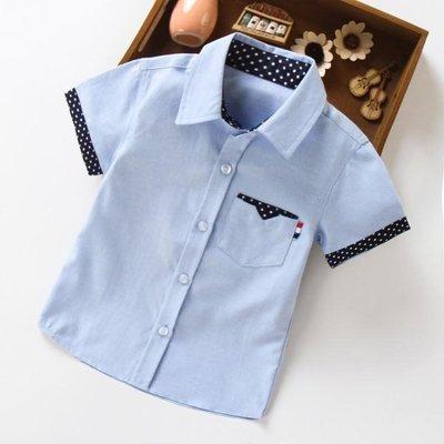 男童短袖襯衫夏季兒童新款韓版百搭童裝中大童純棉白色上衣潮 「爆米花」