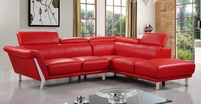 【DH】商品貨號N664-2《姆詹士》L型紅皮沙發組(圖一)左向。備有右向/黑色皮革另計。枕頭可調高底。主要地區免運費