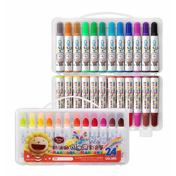 奶油獅24色可水洗彩色筆(雄獅24色彩色筆可水洗BLW-24/B彩色筆洗得掉)也有36色和12色