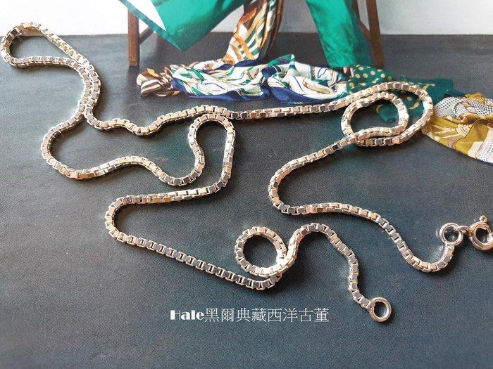 黑爾典藏西洋古董 ~純銀 925銀 百搭小方塊 純銀項鍊 ~美國品牌時尚走秀雜誌