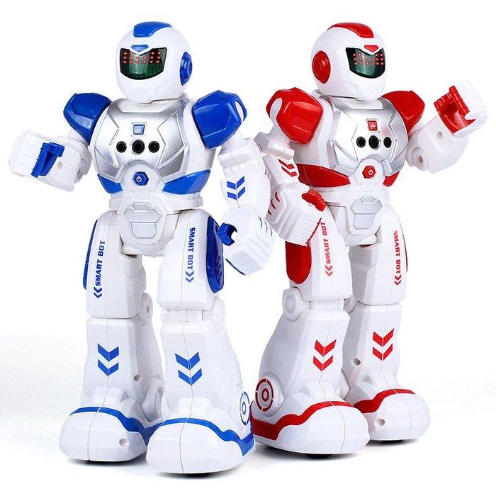 智能玩具兒童智能編程遙控機器人充電機械戰警可對戰唱歌跳舞電動早教感應機器人玩具仿真女孩男孩禮物 智能戰警感應機器人-紅色玩具