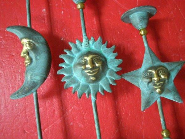 ~@美美小舖@~銅製星星月亮太陽造型藝術燭台 可自取