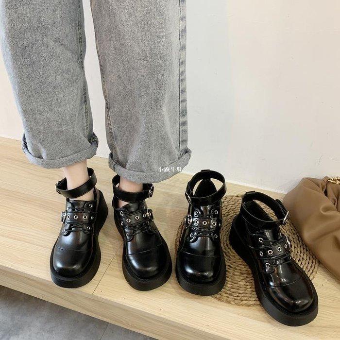 小跑牛鞋英倫風小皮鞋女2020年初秋新款黑色學生厚底百搭一字扣JK制服鞋子