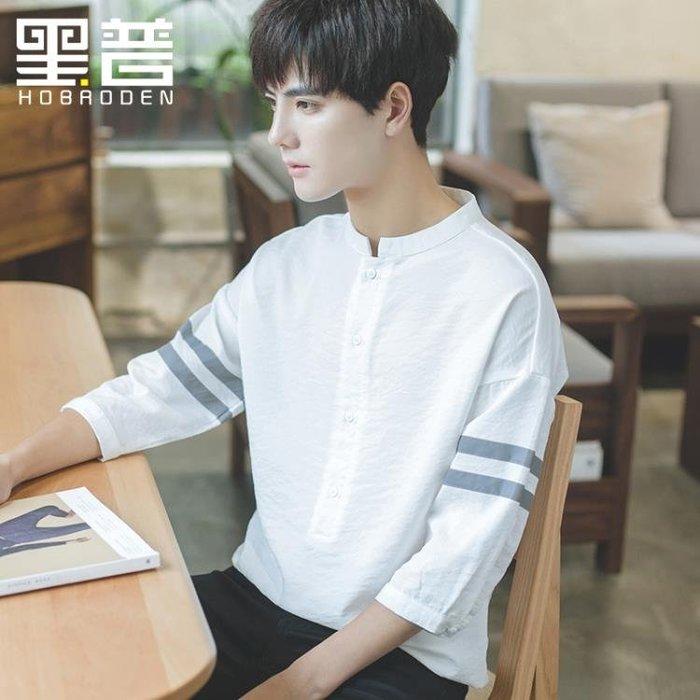 襯衫 短袖襯衫男寬鬆正韓學生潮流七分袖白襯衣立領夏季大碼休閒上衣