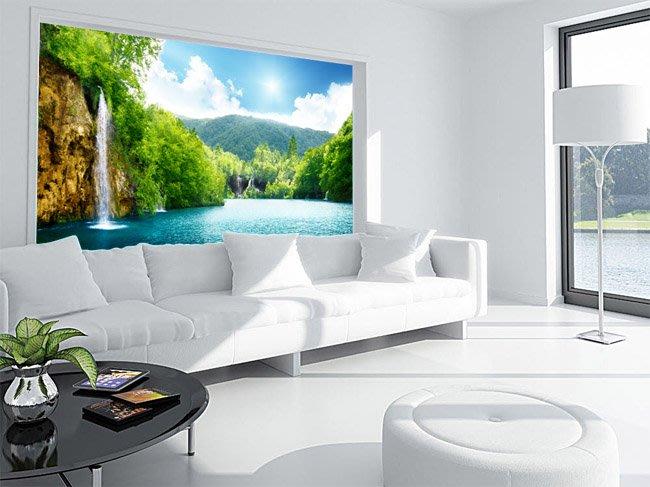 客製化壁貼 店面保障 編號F-113 湖邊瀑布 壁紙 牆貼 牆紙 壁畫 星瑞 shing ruei