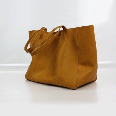 手提包 真皮 托特包-簡約棕色牛皮大容量肩背女包包73vi10[獨家進口][米蘭精品]