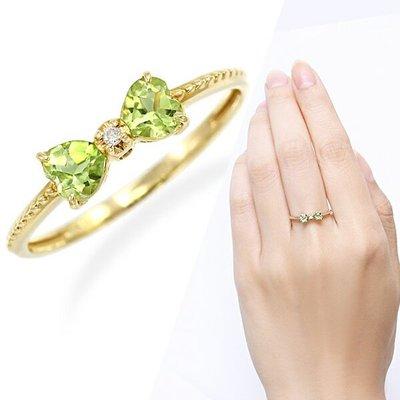 *misaki*の日本Jewelry純代購【日本網路飾品】「天然橄欖石+天然鑽石」10K黄K金戒指【東京 本店】