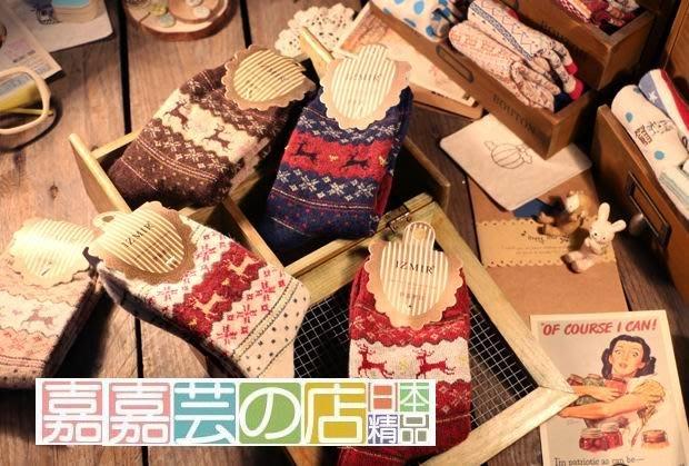 嘉芸的店 日本羊毛襪套 聖誕 麋鹿 雪花 冬天小鹿保暖女羊毛襪 日本羊毛加厚保暖毛襪22-25CM 女士羊毛襪