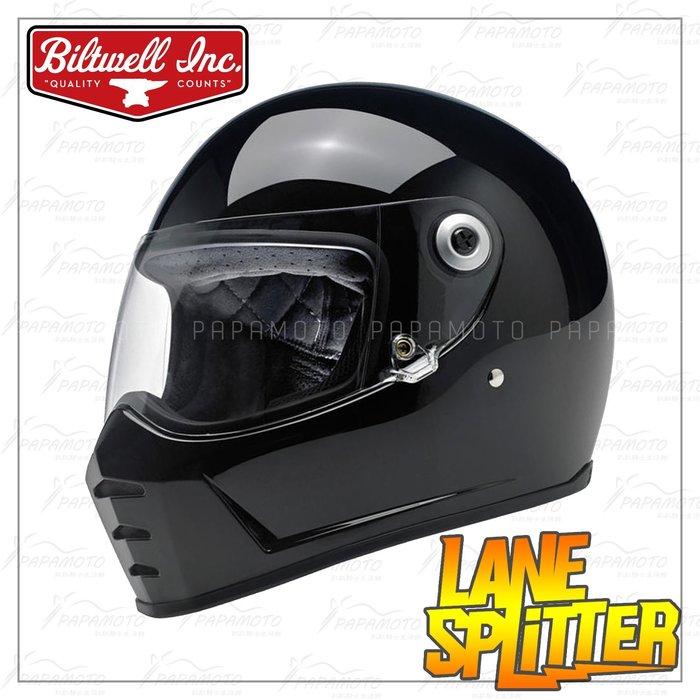 【趴趴騎士】Biltwell Lane Splitter 全罩安全帽 - 亮黑色 (美式 山車帽