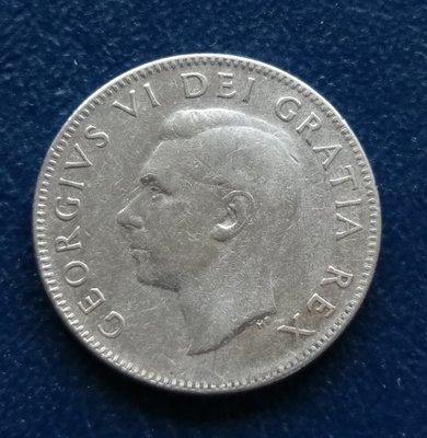 加拿大 CANADA 1952  喬治六世  25分  銀幣(80%)   280-384