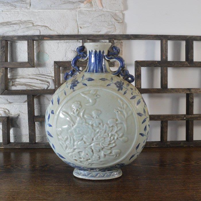 百寶軒 仿古瓷器復古做舊明宣德風格青花花卉紋雙耳扁瓶古董古玩擺件 ZK2033