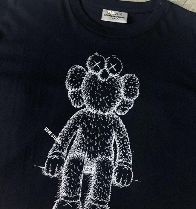 KAWS春夏19SS seeing watching芝麻街限定黑白色短袖T恤