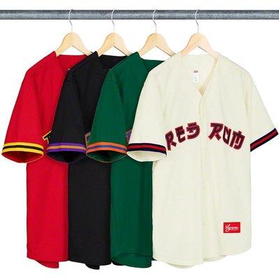 【美國鞋校】預購 Supreme SS19 Red Rum Baseball Jersey 球衣 四色