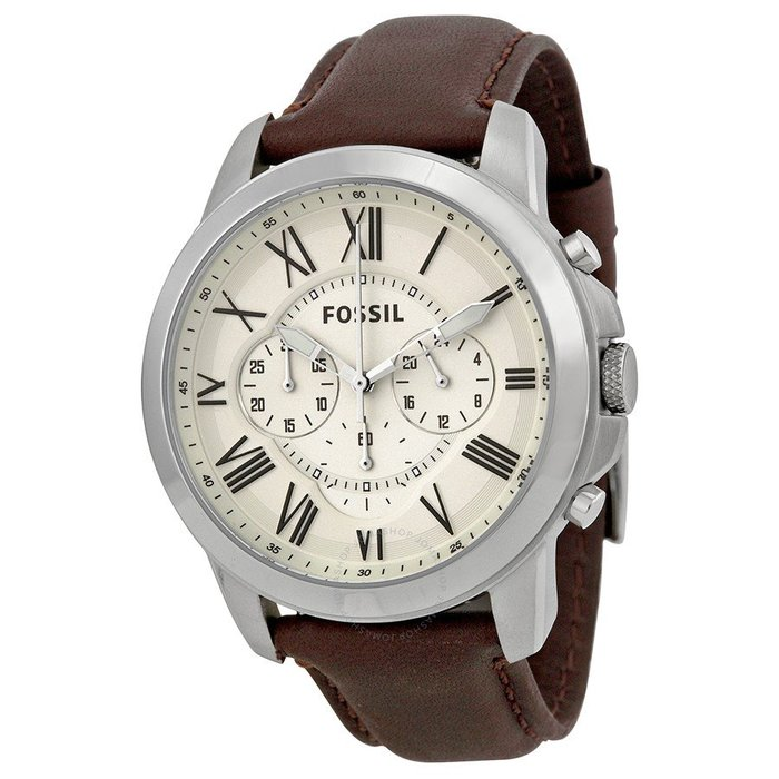 美國百分百【全新真品】FOSSIL 羅馬優雅風 計時皮帶手錶 男錶 休閒 石英錶 駝色錶帶  FS4735 J814