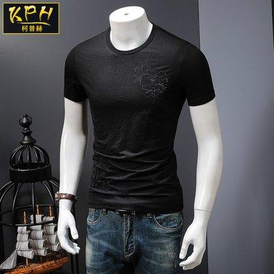 中國風 霸氣 冰絲 龍紋 型男夏季男士短袖T恤日系風休閑黑色體恤韓版修身簡約圓領半截袖衣服