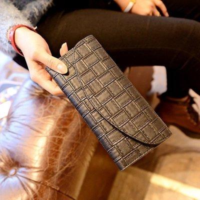 【優上精品】歐美錢包女長款韓版真皮壓花格紋編織手拿錢包2件套(Z-P3243)