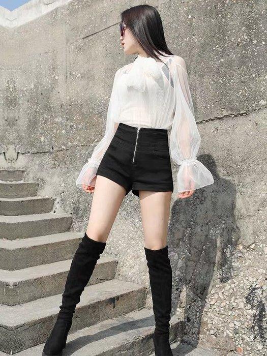 韓版高腰顯瘦闊腿褲短褲高腰褲
