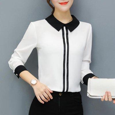 襯衫漫娜兒春季上衣女裝2019新款新款時尚顯瘦韓版雪紡長袖大碼白襯衣