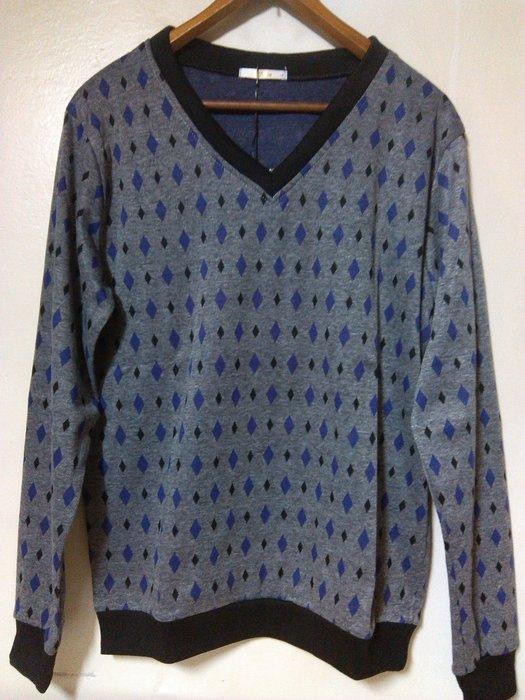 古著 Vintage 紫灰格 菱格紋 V領針織罩衫 長袖T恤 G-Dragon 余文樂 陳冠希