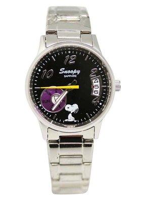 【卡漫迷】 Snoopy 對錶 日期功能 黑 L ㊣版 女錶 手錶 日曆 不銹鋼 強化水晶玻璃 史努比 史奴比 七折出清