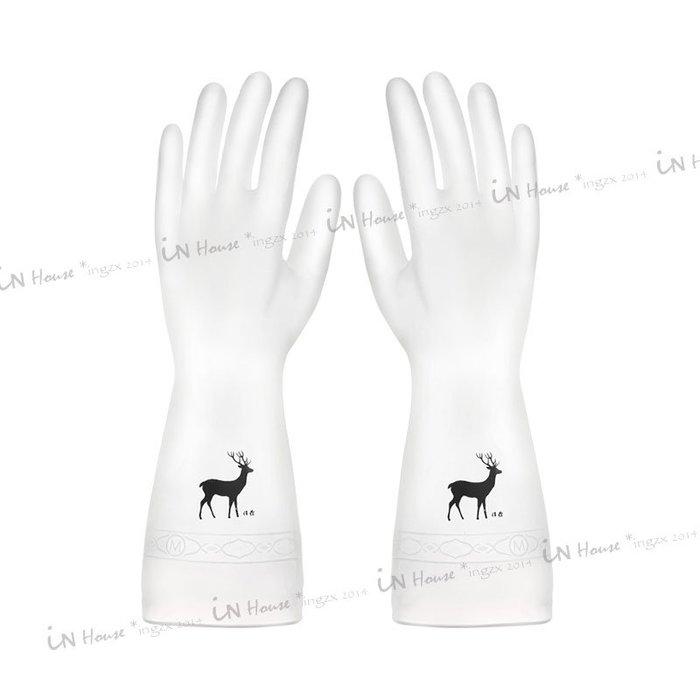 IN House*🇹🇼現貨 gloves 簡約 白色半透明防水手套 橡膠手套 PVC 家務洗碗清潔大掃除 手套