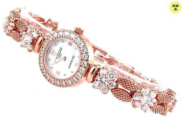 @(六四三鐘錶精品店)@Emilio Valentino(真品)鑽錶..藍寶石水晶玻璃.爪鑲晶鑽.18k玫瑰金式!!!