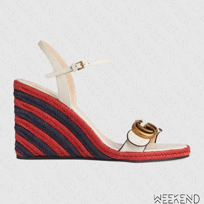 【WEEKEND】 GUCCI 經典配色 編織 厚底 楔型鞋 涼鞋 624409