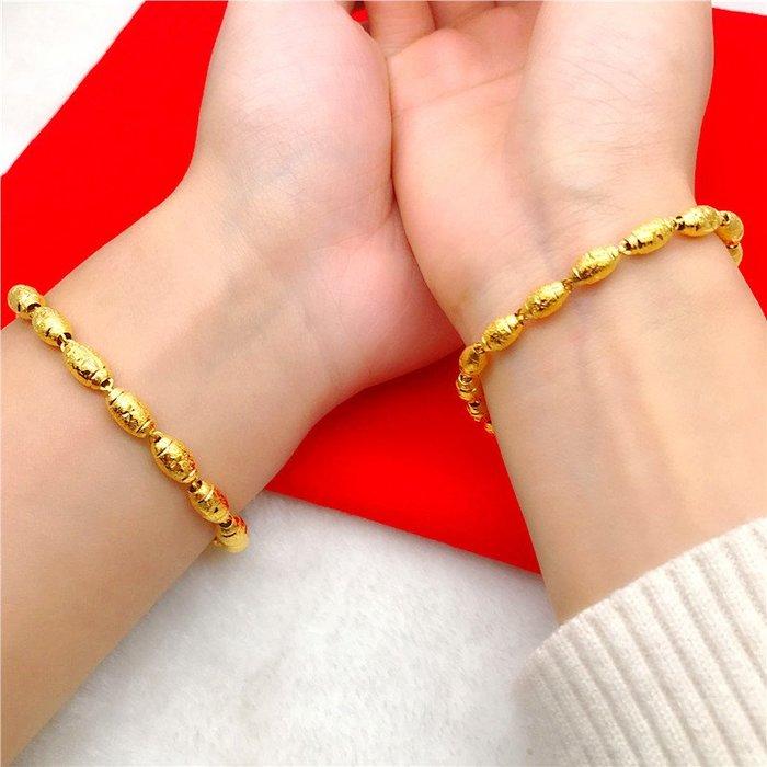 送禮佳品 情侶手鏈鍍金日韓簡約 男女轉運珠歐幣手鏈 仿金沙金首飾久不掉色