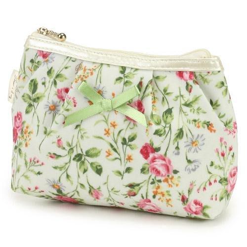~~凡爾賽生活精品~~全新日本進口白底粉紅色玫瑰花園造型拉鍊零錢包.小化妝包.收納包