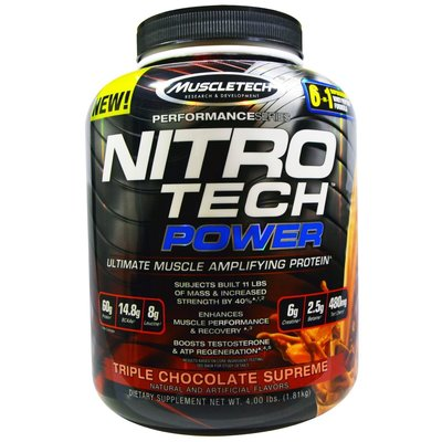 Muscletech 三倍巧克力 NITRO-TECH Power  NITRO TECH  低脂 分離 蛋白 (4磅)