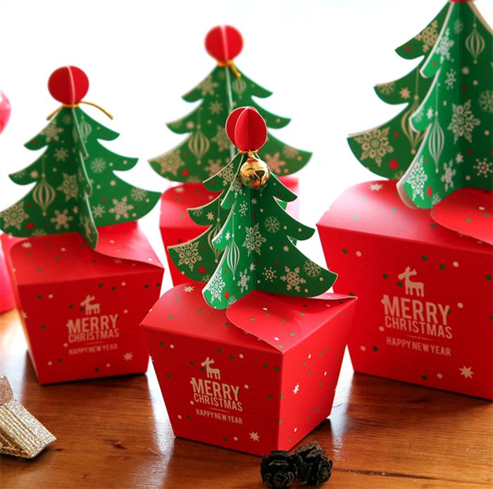 888利是鋪-圣誕樹雪花餅干包裝盒曲奇紙盒糖果牛軋糖烘焙圣誕節包裝盒10個