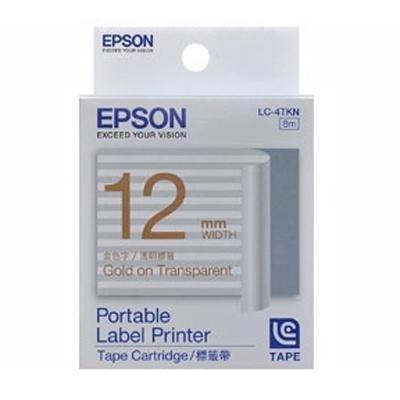 [哈GAME族]愛普生 EPSON 標籤機色帶 LC-4TKN 透明底金字 標籤帶 12mm LW-400/LW-500/LW-700/LW-900