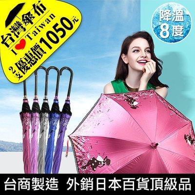 〈雨傘達人*2支優惠價1050元*歐洲名媛〉台灣傘布/降溫8度/100%抗UV/完全遮陽不透光自動長傘