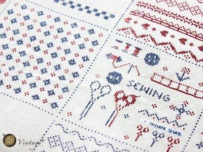 Vintage ~雜貨 ~櫥窗 ~復古田園鄉村風裁縫用品圖案十字繡桌巾桌布  品