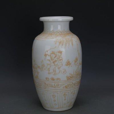㊣姥姥的寶藏㊣ 大明永樂款甜白瓷堆彩嬰戲圖冬瓜瓶  官窯出土古瓷器古玩古董收藏