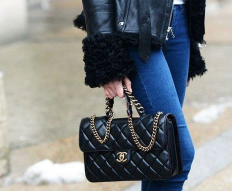 Chanel 香奈兒包 A66434 小型牛皮菱格 Perfect Edge 肩背包 26 cm 黑 銀鍊