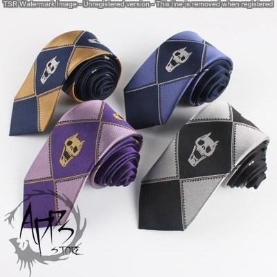 [APPS STORE21]JOJO的奇妙冒險 吉良 吉影 7CM真絲 骷髏刺繡 領帶 4色