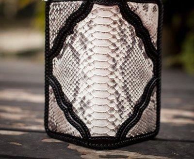 NYCT 韓國高品質限定原創 歐美熱賣頂級百搭時尚新款蟒蛇皮招財錢包財布純手工原創植鞣革錢包褲鏈包