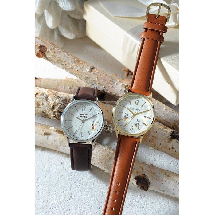 迪士尼DISNEY《預購》附日期大錶面石英手錶 腕表~米奇 米妮 ~日本製~共2款~心心小舖
