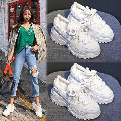 2021新款韓版內增高小白鞋女8cm真皮鬆糕超厚底老爹鞋