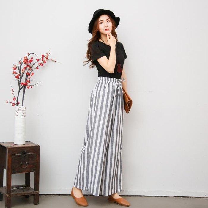 2019春夏新款韓版純色百搭 亞麻條紋高腰寬鬆加長闊腿褲長褲Y-優思思