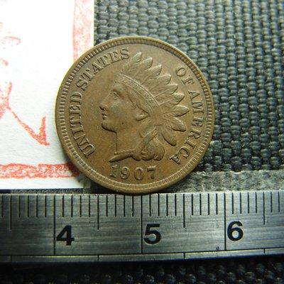 【錢幣鈔】1907年 美國印地安銅幣 ONE CENT (深打UNC好品-原味老包漿)