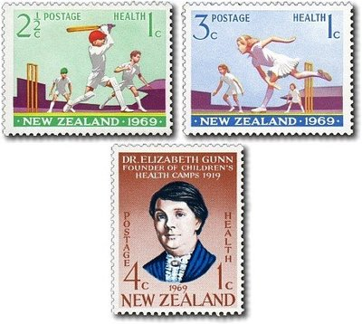 【雲品】紐西蘭New Zealand 1969 Sc B77-9 Cricket (3) set MNH 庫號#48720