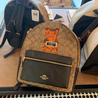 COACH 76657 新款Vandal Gummy暴力熊圖案 防刮PVC配牛皮中號雙肩背包 後背包 附購買憑證