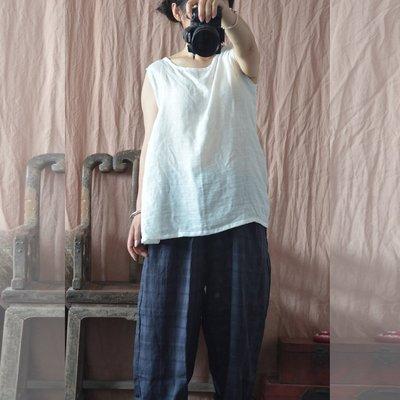 (老銀屋)夏季簡約純棉無袖內搭外穿白色背心