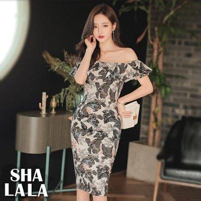 SHA LA LA 莎菈菈 韓版名媛氣質性感一字領荷葉邊露肩包臀顯瘦印花連衣裙洋裝(S~XL)2019032220預購款