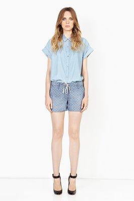 GENETIC The Olivia Drawstring Short淺單寧色格紋短褲apt.3R