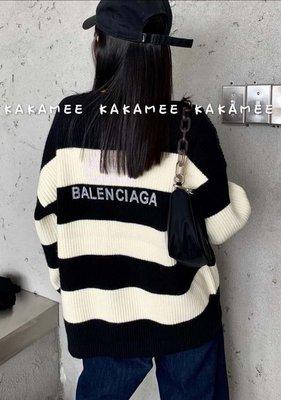 橫條針織毛衣字母寬鬆針織衫++台灣現貨++🌸Hua yang🌸【韓妞必備】韓版秋季新款🔥